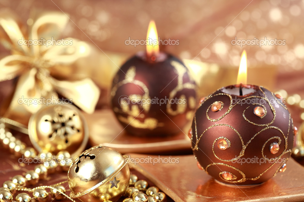 Christmas still life with candles and jingle bells in brown and golden tone — Stock Photo #3881959