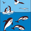 There are whale, penguins and seagulls — Stock Vector #3092149