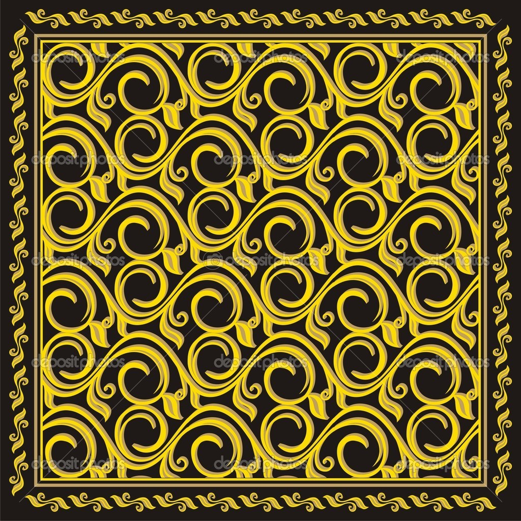 Patterns gold on a black background — Stock Vector #3168433
