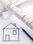 家の計画の建築スケッチ — ストック写真