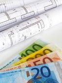 Euro peníze a plány — Stock fotografie
