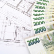 Money - Czech crowns and plans — Stock Photo