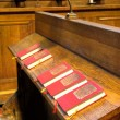 Stock Photo: Chapel - detail of hymnal books