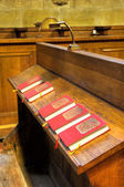 Chapel - detail of hymnal books — Stock Photo