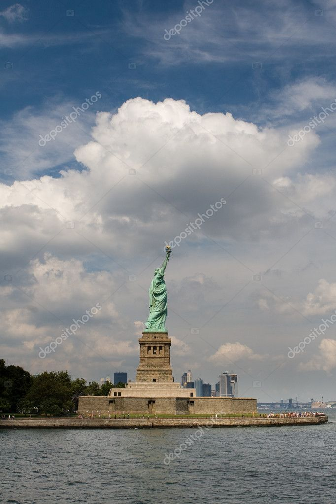Statue of Liberty in New York City, under blue sky — Stock Photo #3192755