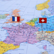 France and Switzerland on the map — Stockfoto
