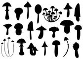 Mushroom silhouettes — 图库矢量图片