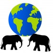 Elephants carrying Earth on their should — Stock Photo