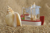 Shell and ship at beach — Stock Photo