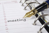 Meeting date in diary — Stock Photo