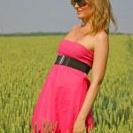 Красивая сексуальная девушка в поле пшеницы — Стоковое фото