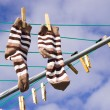 Socks on a washing line — Stock Photo