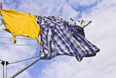 Clothes on a washing line — Stock Photo