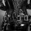 Stock Photo: Black latex corset