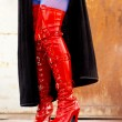 Stock Photo: Red latex boots