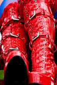 Red latex boots — Stock Photo