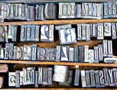 Old metal fonts — Stock Photo
