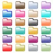 web folder icons assorted colors — Stock Vector
