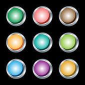 Web buttons round silver metallic rims. — Stock Vector