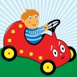 Boy Driving Car Cartoon Character — Stock Vector