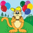 Royalty-Free Stock Vector Image: Cartoon Cat with Balloons in Park