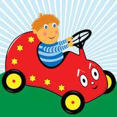 Ragazzo guida auto cartone animato — Vettoriale Stock
