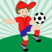 Cartoon Child Playing Football — Stock Vector