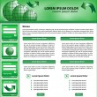 Website template design green — Stock Vector