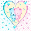 Cute bear cartoons in a heart — Stockvektor