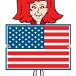 Stock Vector: Cartoon lady holding American flag