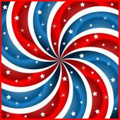 American flag stars and swirly stripes — Vettoriale Stock