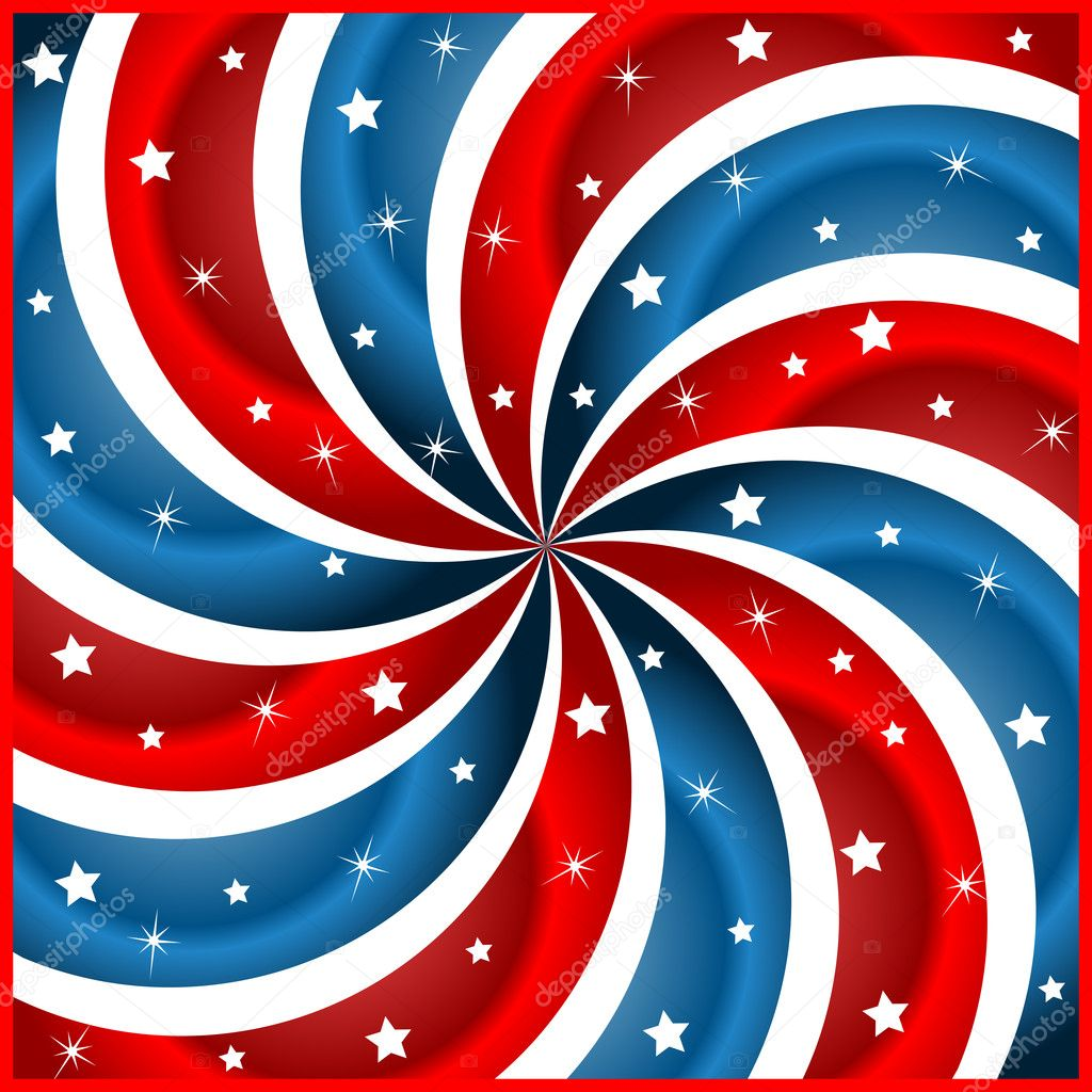 American flag background with stars and swirly stripes symbolizing 4th july independence day — Stock Vector #3340395