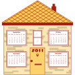 Calendar 2011 in an orange house — Stock Vector