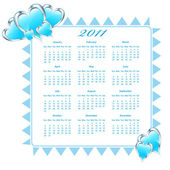2011 Calendar with hearts — Stock Vector