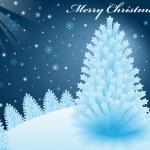 Christmas snow scene at night with xmas trees — Stock Vector