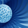 Disco ball blue on abstract background — Stock Vector