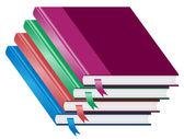 Libros, pila de cuatro libros apilados — Vector de stock