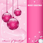 Christmas balls decorations pink — Stock Vector