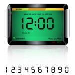 Digital alarm clock green — Stock Vector