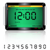 Digital alarm clock green — Vector de stock