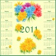 Calendar 2011 with flowers — Stock Vector