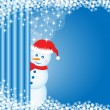 Snowman peeping behind curtain — Stock Vector