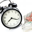 Stock Photo: Alarm clock and money