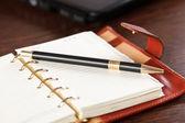 öppna anteckningsbok och penna — Stockfoto