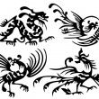 Stock Vector: Tattoo of dragons and birds