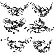 Tattoo of dragons and birds. — Stock Vector