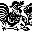 Ancient Japanese tattoo of cock. — Stock Vector