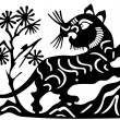 Ancient Japanese tattoo of lion — Stock Vector