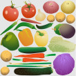 Set of fresh vegetables - Stock Vector