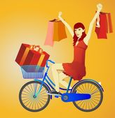 The cheerful girl on a bicycle — Stock Vector